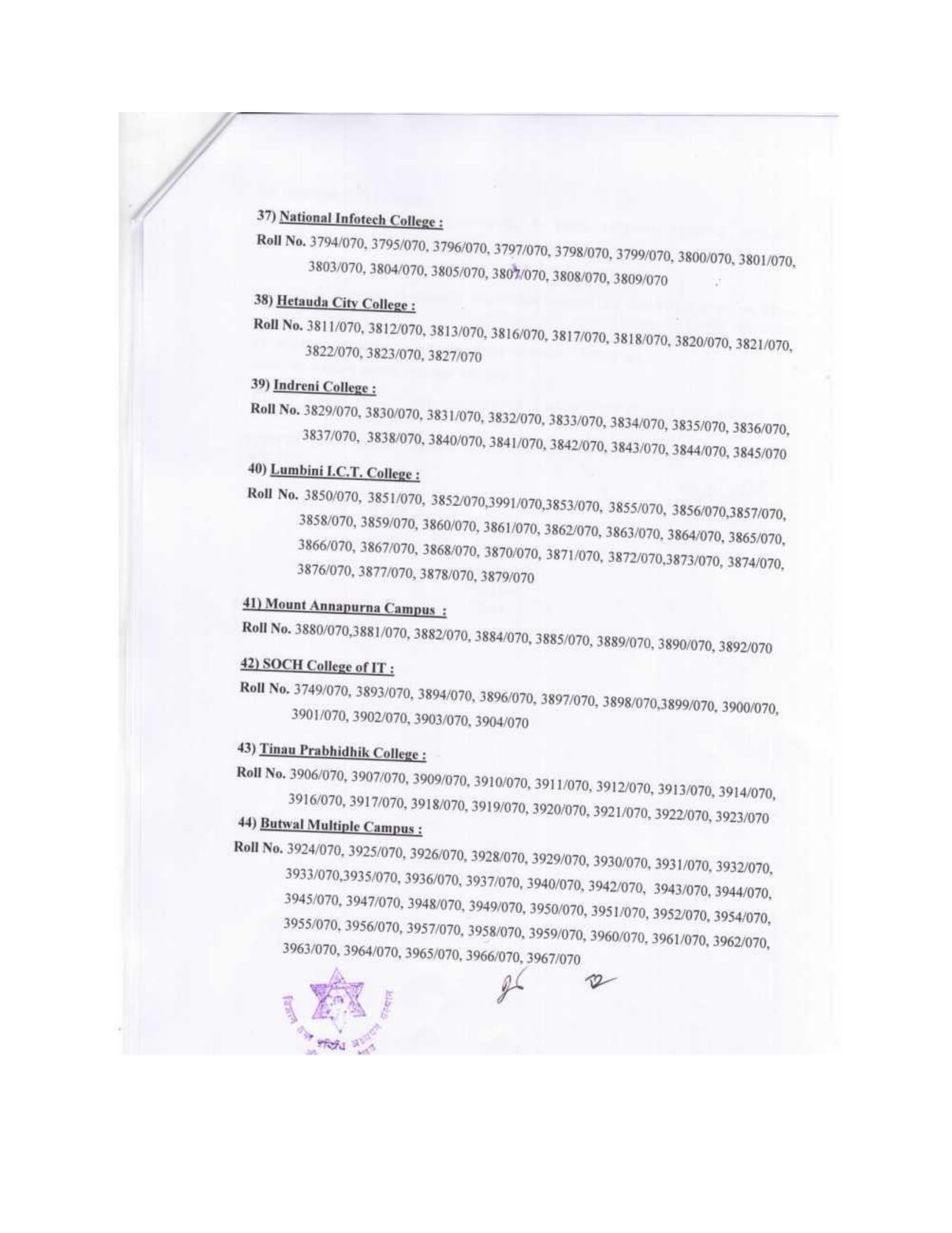 B.Sc. CSIT VIII Semester Exam Result 7