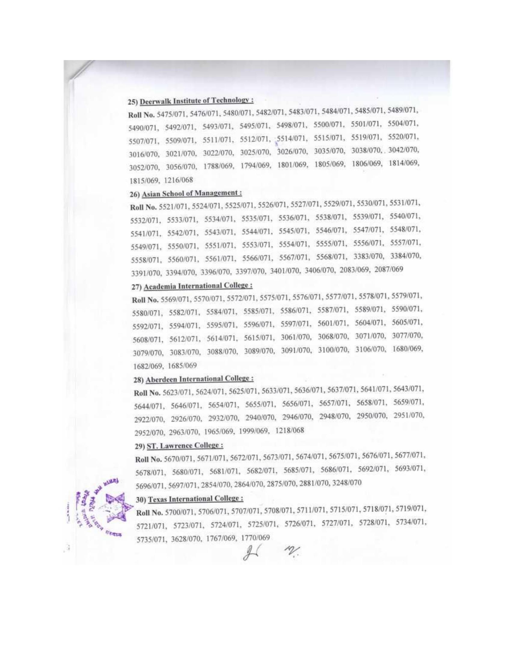 B.Sc.CSIT 5th semester result