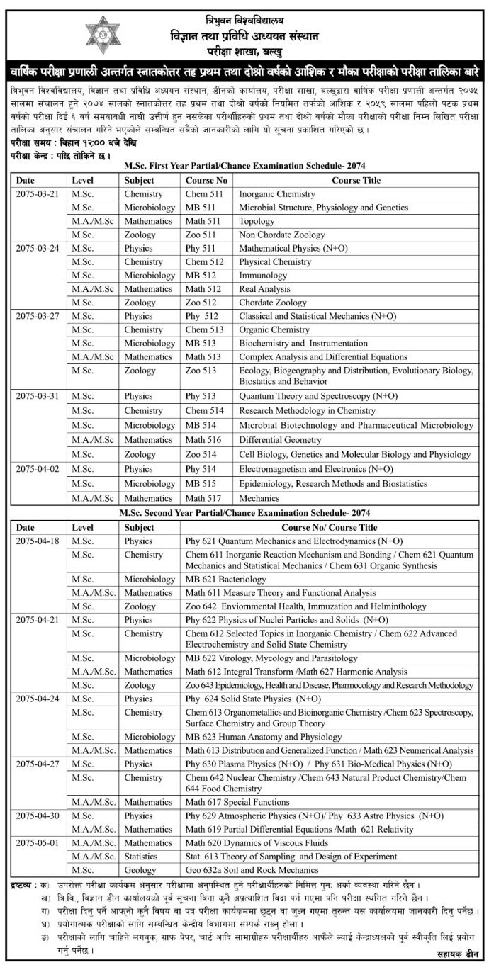 Tribhuvan University MSc 1st & 2nd year Partial Chance Exam[2075] Routine Published