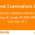 NEB- Grade XII Biology (Botany+Zoology) Grade 12-XII Question Paper 2076 [2019] Sub Code: 214 'C'