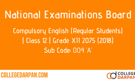NEB- Grade XII 2075 (2018) Compulsory English(004'A')