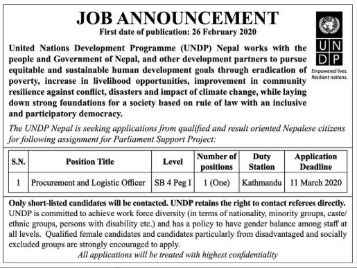 UNDP Nepal Vacancy for Procurement and Logistic officer