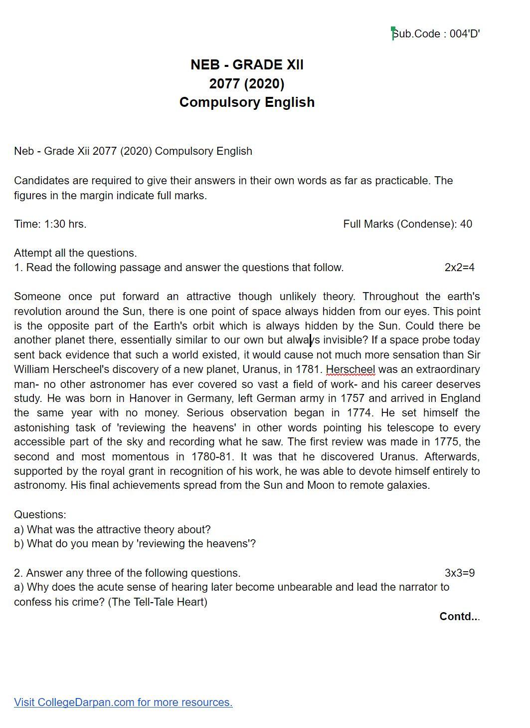Neb - Grade Xii 2077 (2020) Compulsory English